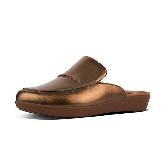 핏플랍 FitFlop SERENE Metallic Leather Mules,Bronze