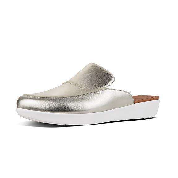 핏플랍 FitFlop SERENE Metallic Leather Mules,Silver