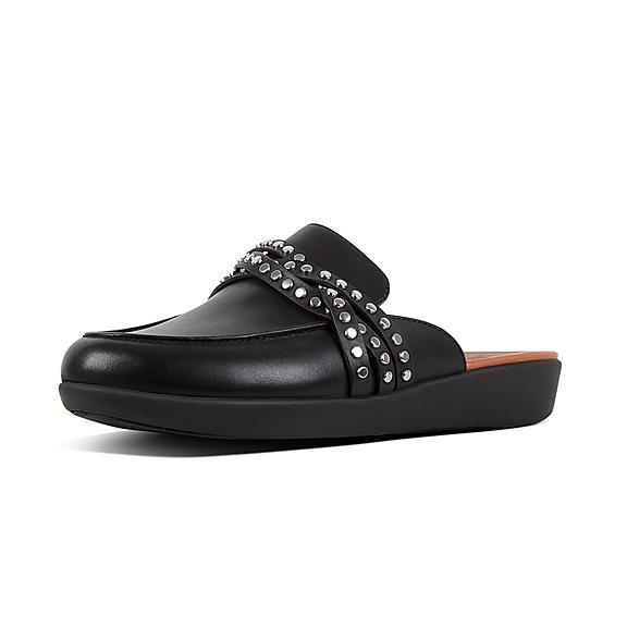 핏플랍 FitFlop SERENE Rockstud Strappy Leather Mules,Black