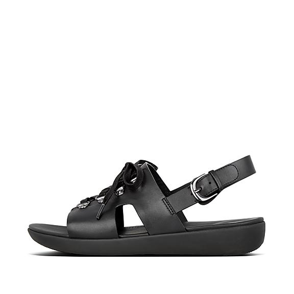 핏플랍 FitFlop SKANDI H-Bar Leather Back-Strap Sandals,All Black