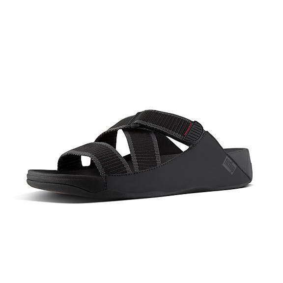 핏플랍 FitFlop SLING II Mens Slide Sandals,Black/Dark Shadow