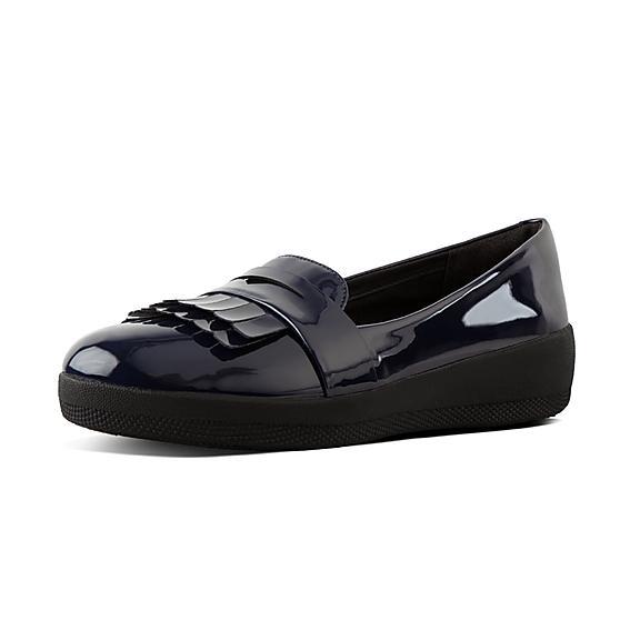 핏플랍 FitFlop SNEAKERLOAFER Patent Loafers,Midnight Navy