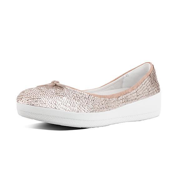 핏플랍 FitFlop SUPERBALLERINA Sequinned Ballet Flats,Cream