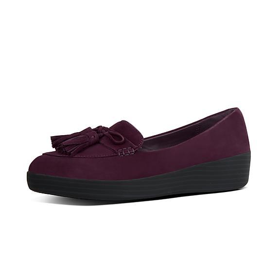 핏플랍 FitFlop SNEAKERLOAFER Tassel-Bow Suede Shoes,Deep Plum