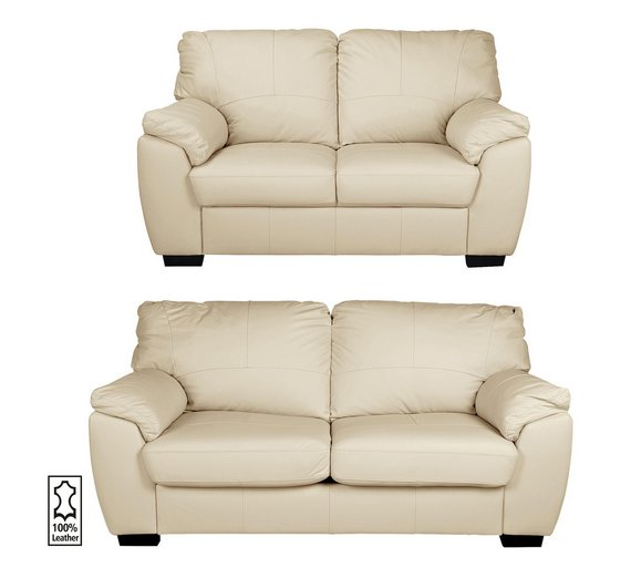 Buy Collection Milano Leather 3 Seater 2 Seater Sofa Ivory At Argos C
