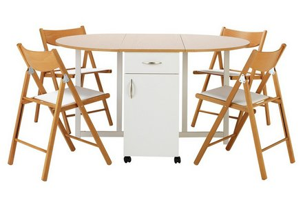Collection Willow Folding Dining Table & 4 Chairs -Two Tone.