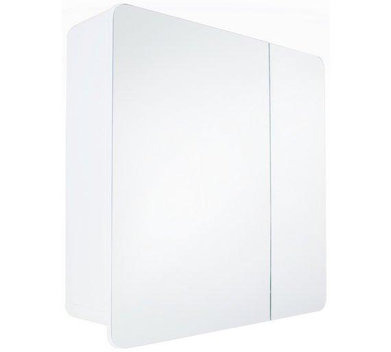 buy hygena curve double door mirrored bathroom cabinet white at