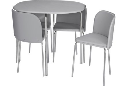 Hygena Amparo Space Saving Dining Table & 4 Chairs - Grey.