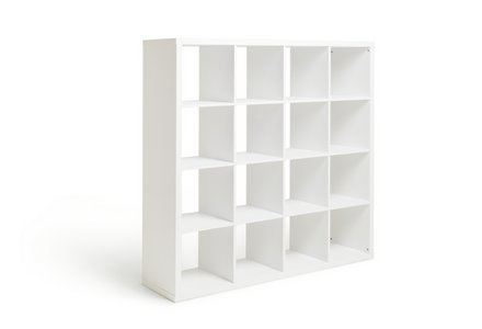 Hygena Squares Plus 16 Cube Storage Unit - White Gloss.