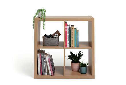 Hygena Squares Plus 4 Cube Storage Unit - Oak Effect.