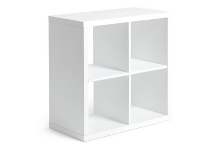 Hygena Squares Plus 4 Cube Storage Unit - White Gloss.