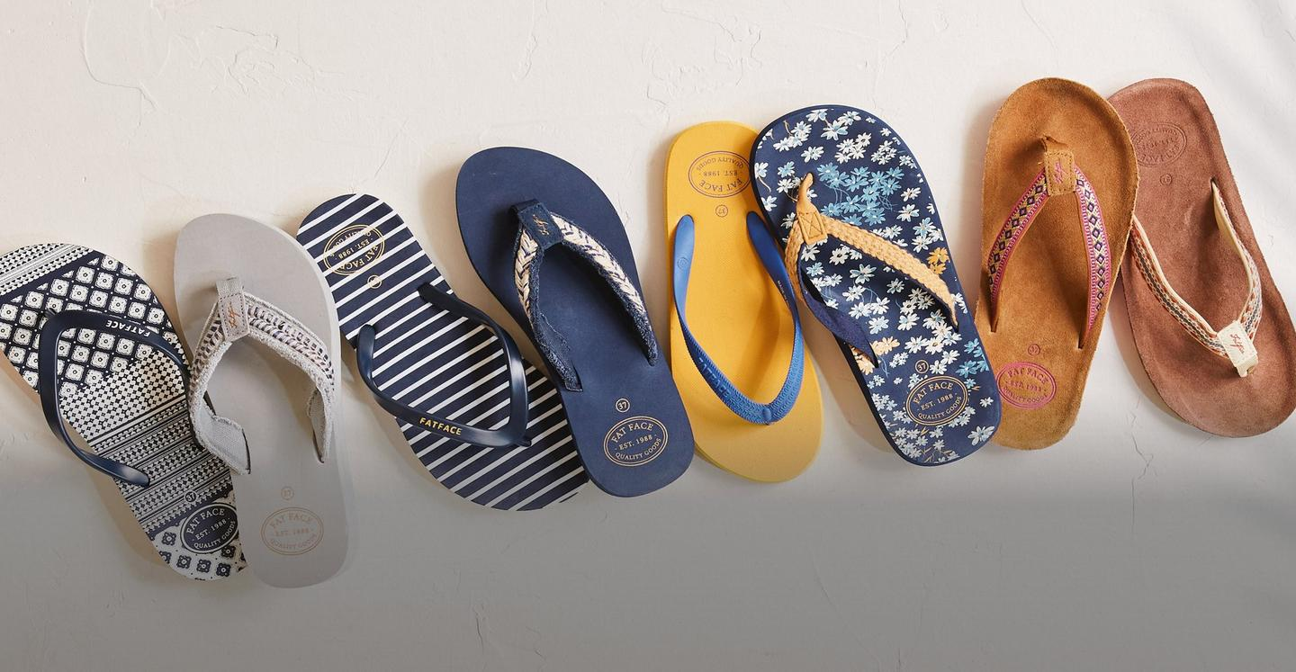 A selection of printed flip flops.