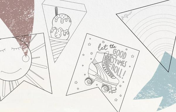 Bunting design templates, including a sun, an ice cream, a rollerskate and a rainbow.