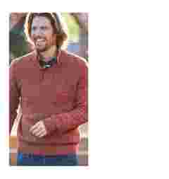Man wearing  Redwood coloured Denham Twisted Half Neck Jumper