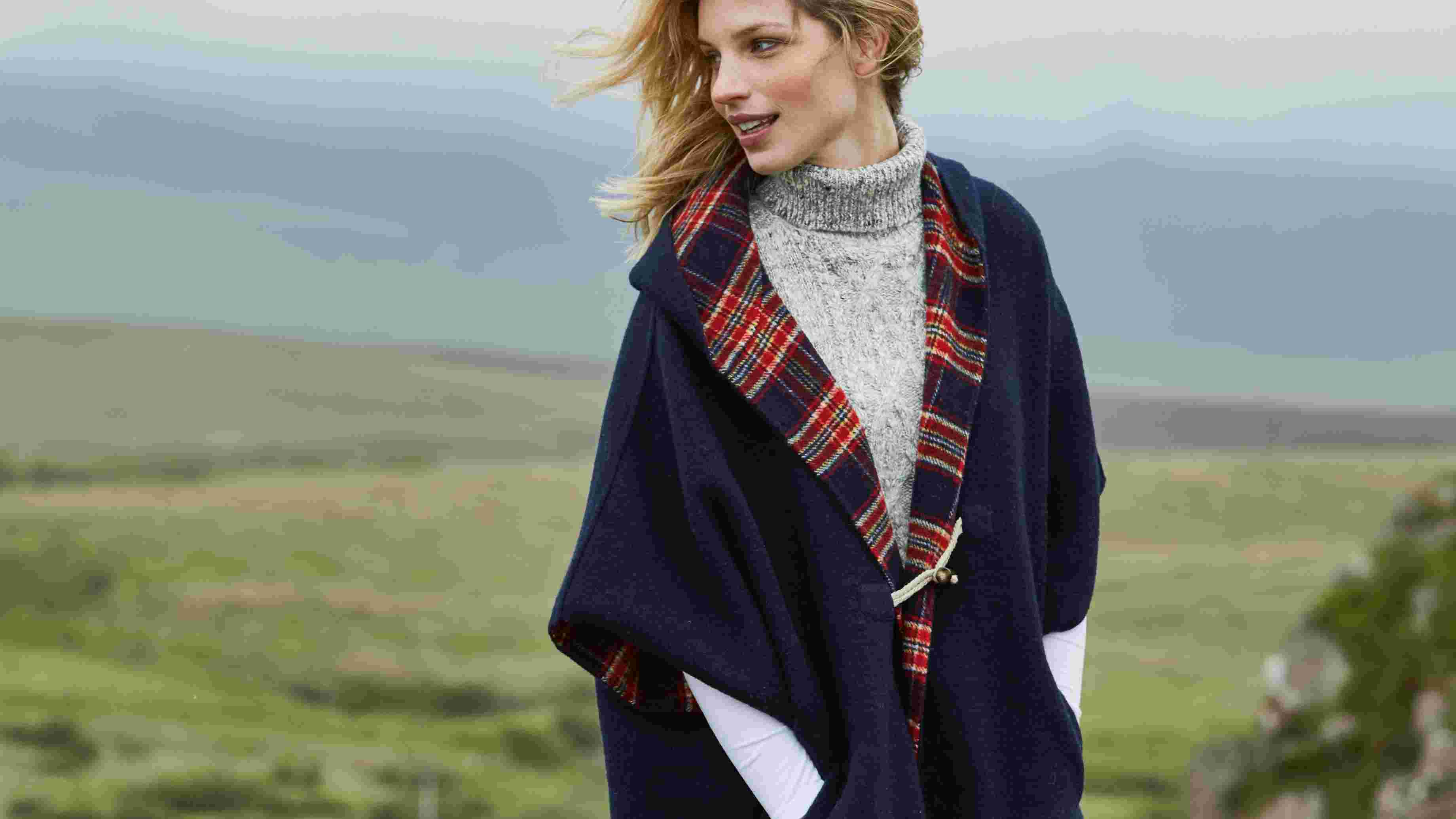 video of FatFace women's check cape