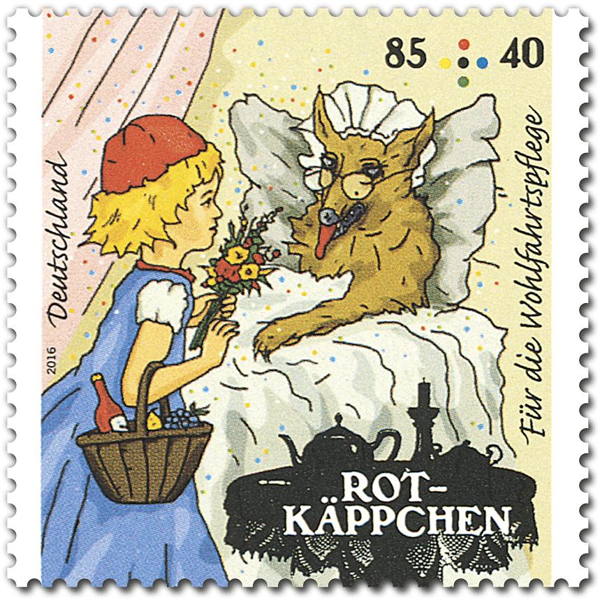 Briefmarke Rotkäppchen Wolf