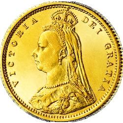 """1/2 Sovereign Victoria, """"Gekröntes Porträt"""""""