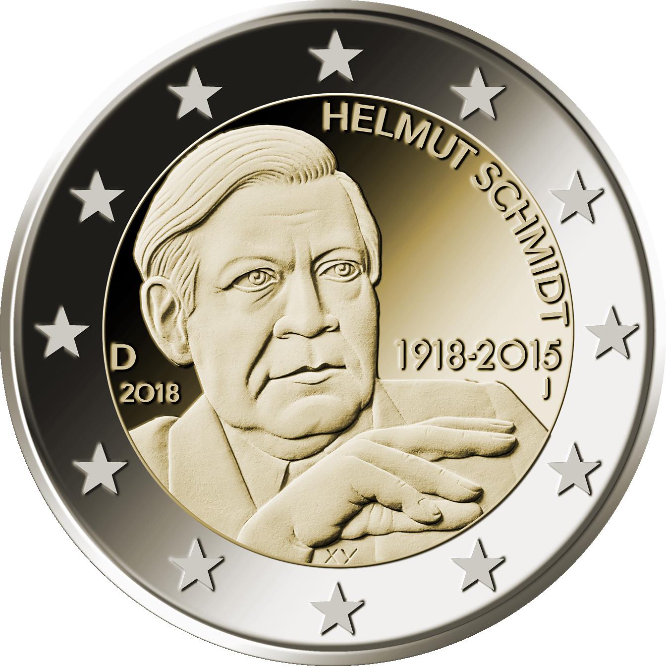2 Euro Münze 2018 Helmut Schmidt Mdm Deutsche Münze