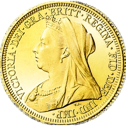 "1 Sovereign Victoria, ""Altes Porträt"""