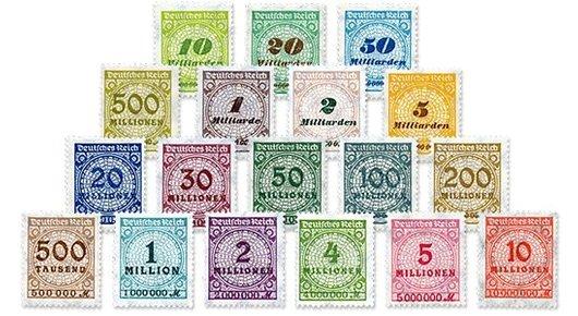 Die Briefmarken Ihrer Startlieferung Michel-Nr 313 - 330 A