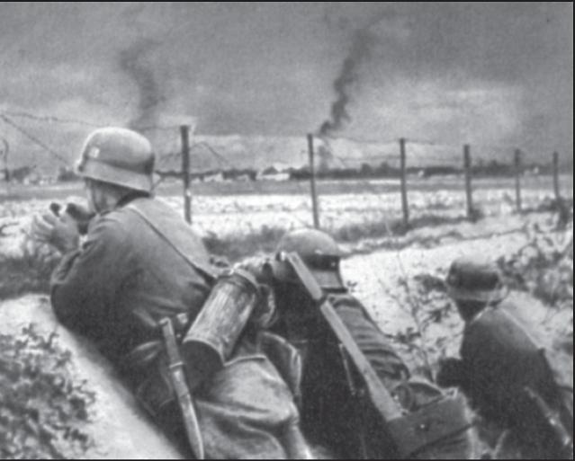 Deutsche Infanteriestellung vor Warschau (17. September 1939).