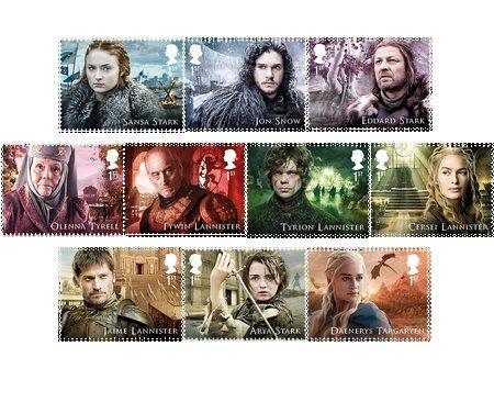 10 Briefmarken der Hauptcharaktere