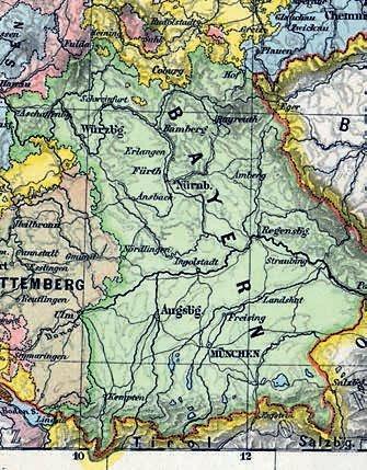 Kartenausschnitt mit den Landesgrenzen Bayerns