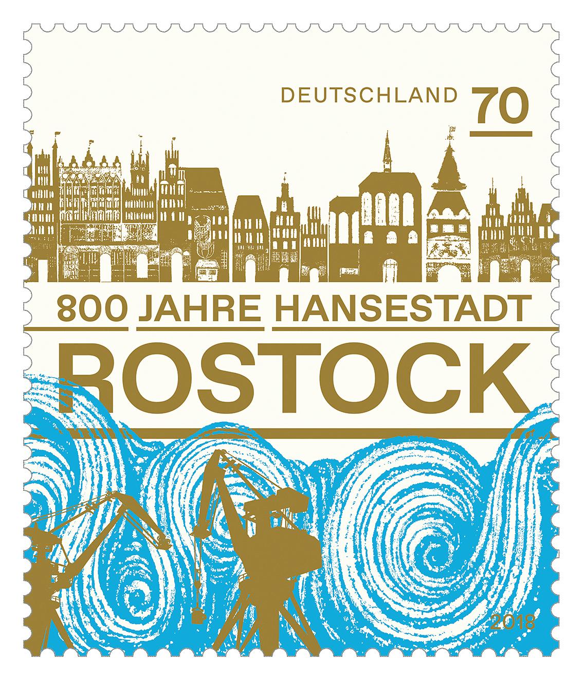 Briefmarke 800 Jahre Hansestadt Rostock