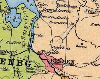 Kartenausschnitt mit den ehemaligen Landesgrenzen Bremens