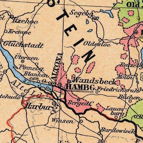 Kartenausschnitt mit den ehemaligen Landesgrenzen Bergedorfs