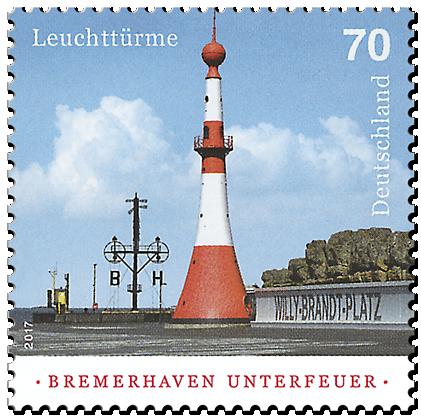 """Briefmarkenserie """"Leuchttürme"""": Bremerhaven Unterfeuer"""