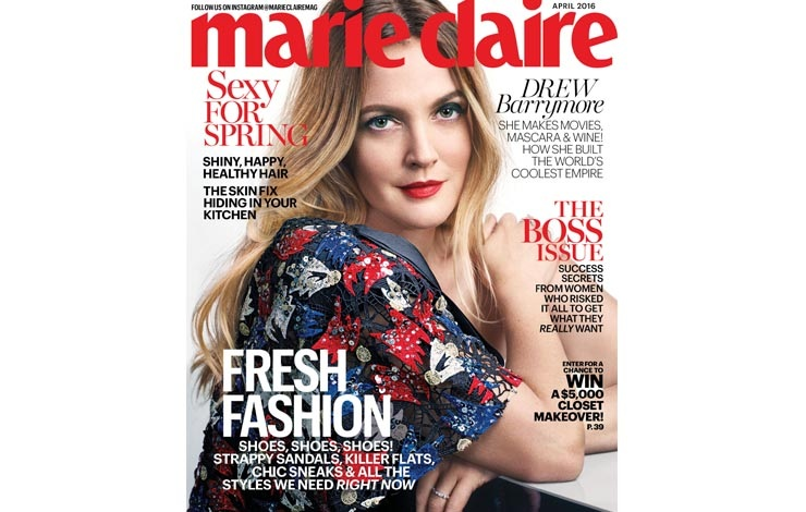 Drew Barrymore in Marc Jacobs on Marie Claire cover
