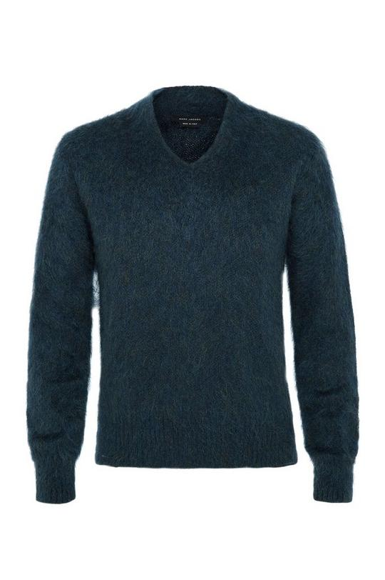 Fuzzy Mohair V-Neck Sweater