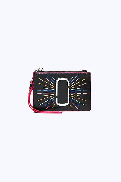 마크 제이콥스 Marc Jacobs Snapshot Confetti Top Zip Multi Wallet,BLACK MULTI