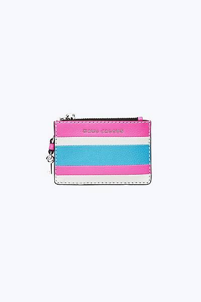 마크 제이콥스 Marc Jacobs The Grind Top Zip Multi Wallet,BRIGHT PINK MULTI
