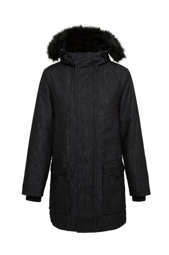 Puffy Parka Denim with Faux Fur Hood