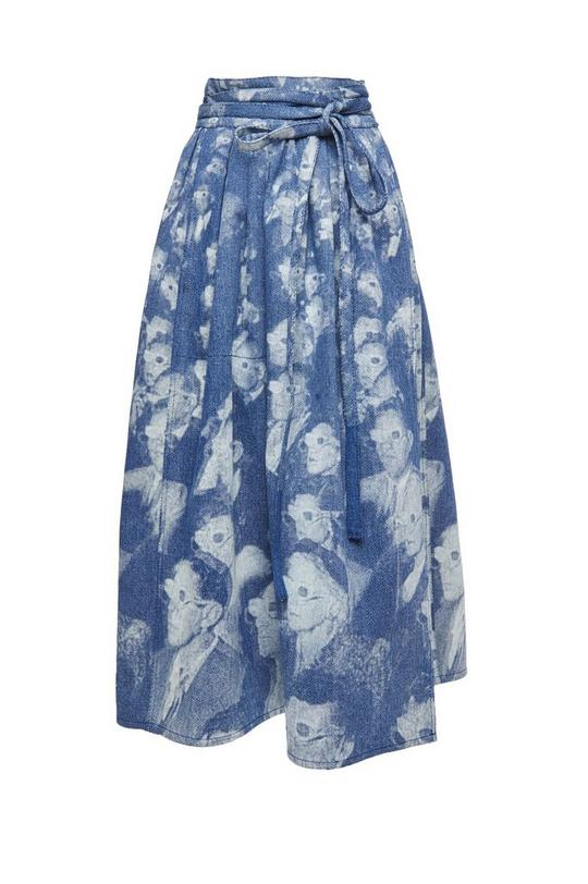 3D People Print Denim Skirt