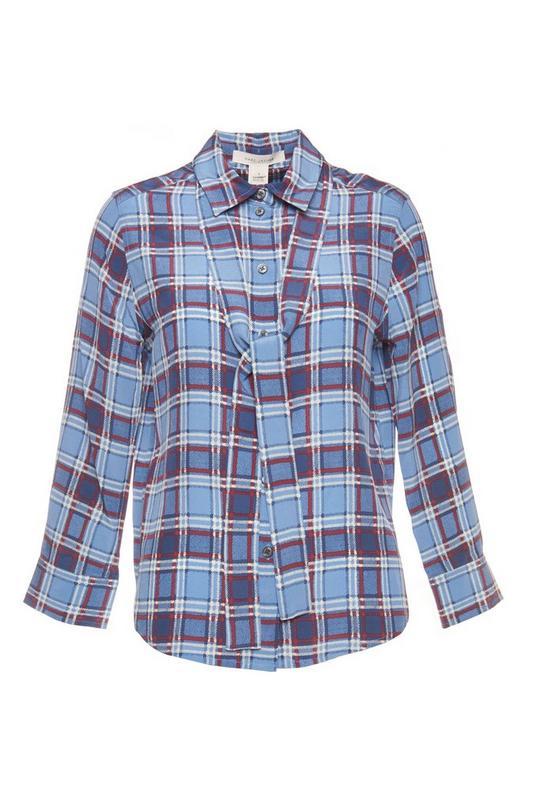 Oversized Silk Plaid Button Down Shirt