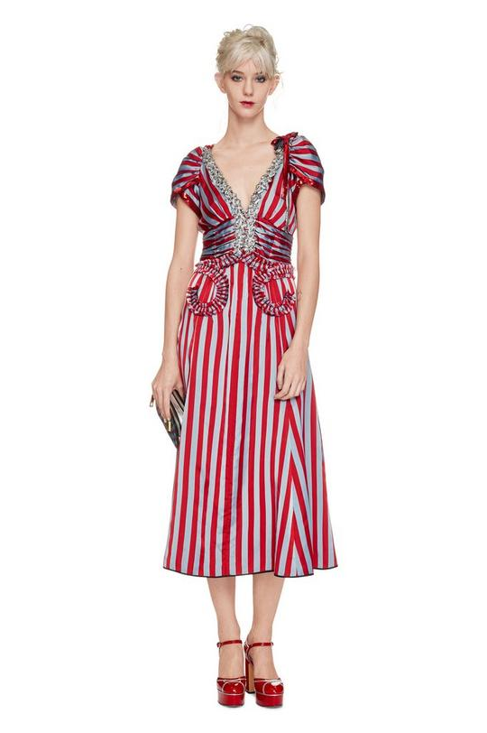 Satin Stripe Party Dress