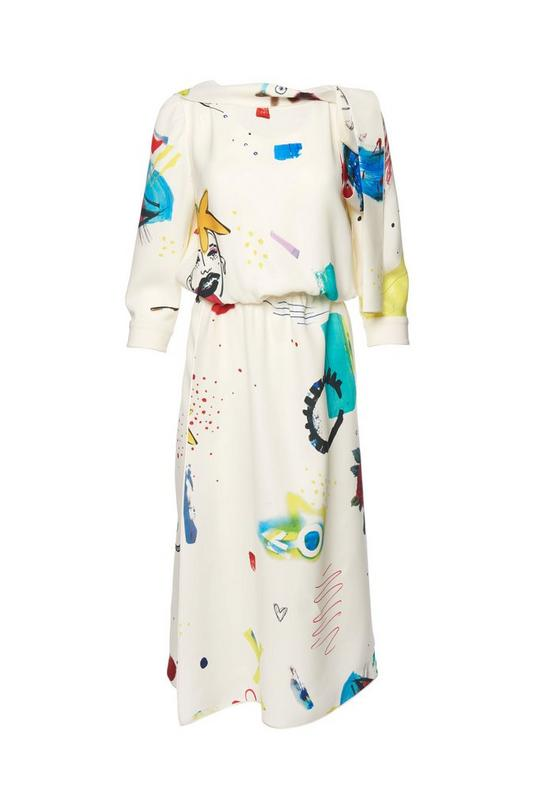 3/4 Sleeve Collage Print Dress