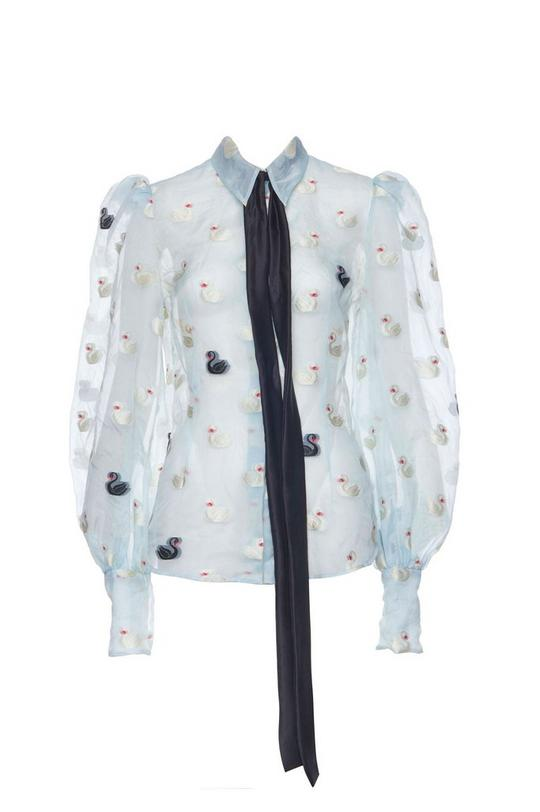 Swan Fil Coupe Long Sleeve Blouse