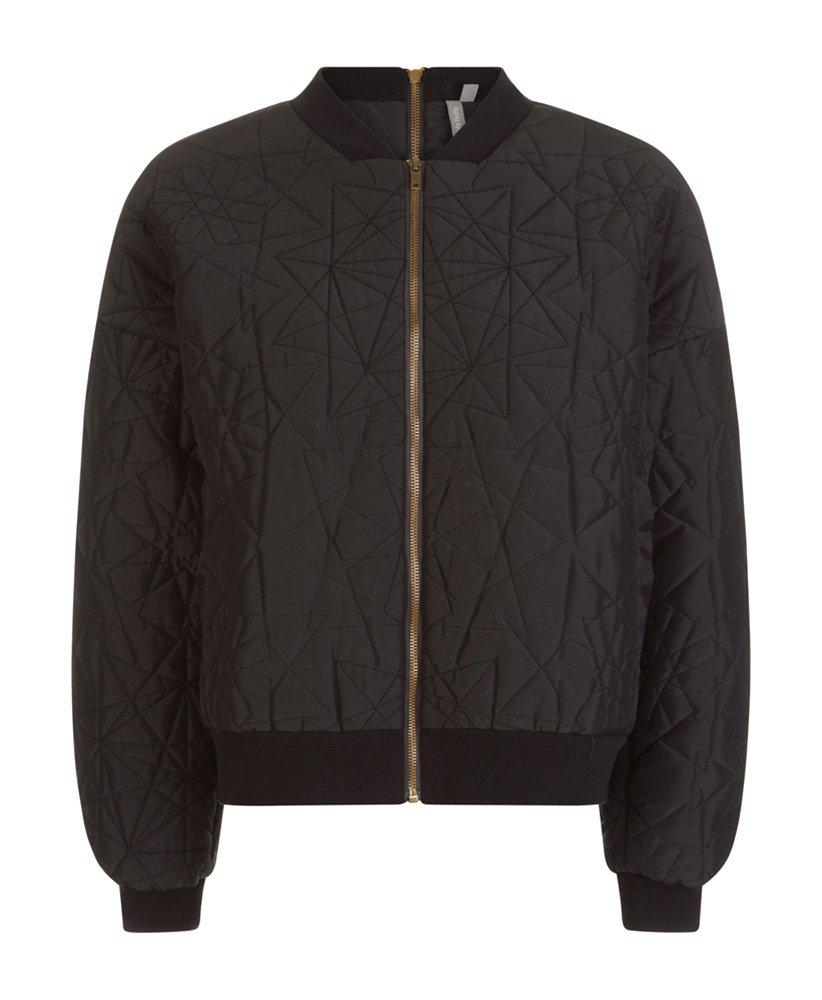 Classic bomber style jacket with all-over embroidery. The oversized blouson sleeves, quilted effect, ribbed hem and front and back zippers are seriously cool. Throw on over loose tees and tailored pants for effortless style with an edge.
