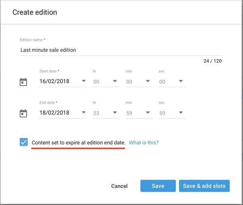 Creating an edition with an active end date