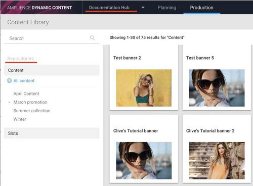 Dynamic Content screen showing a hub and content and slot repositories