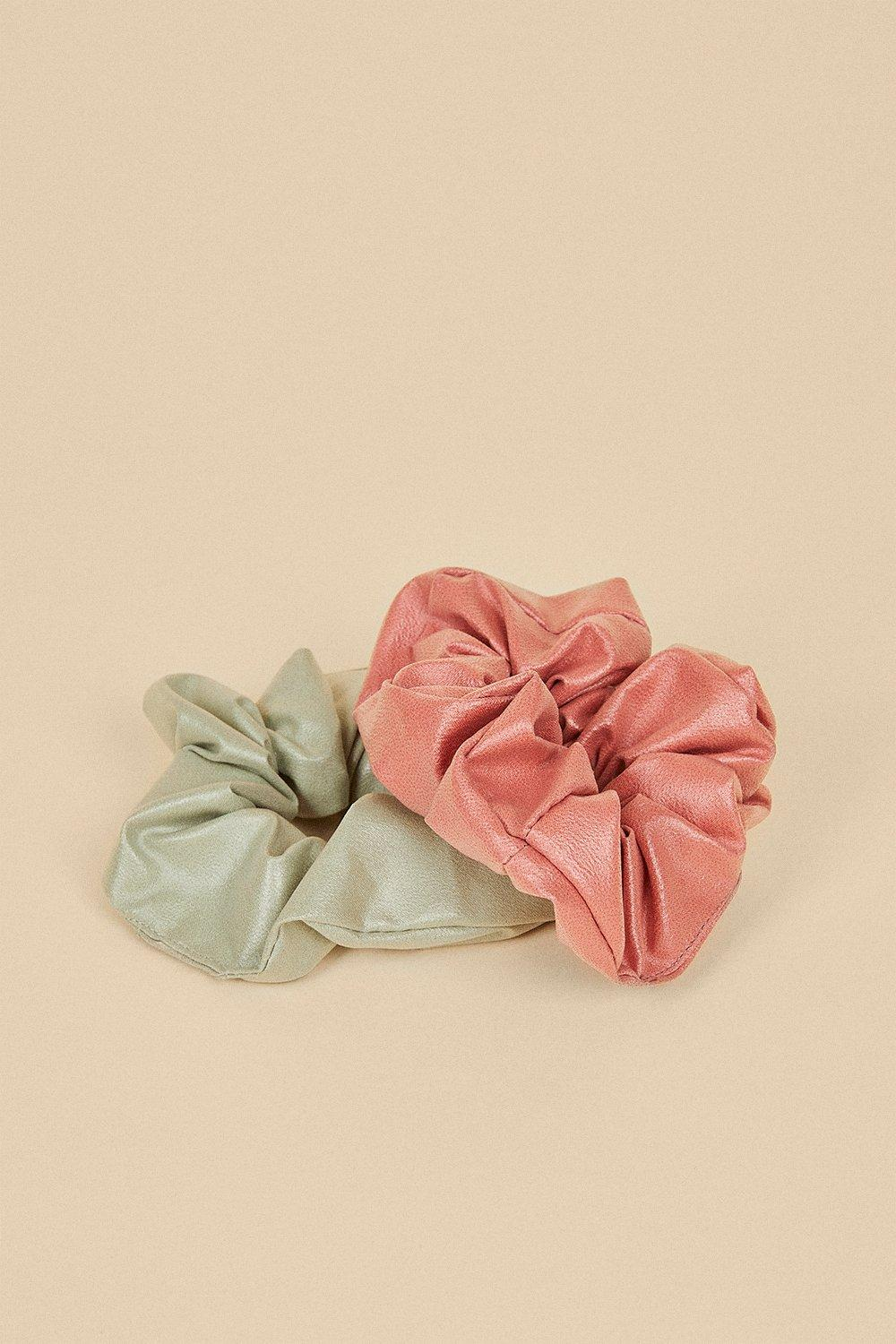 Womens 2 Pack Faux Leather Scrunchies - multi, Multi