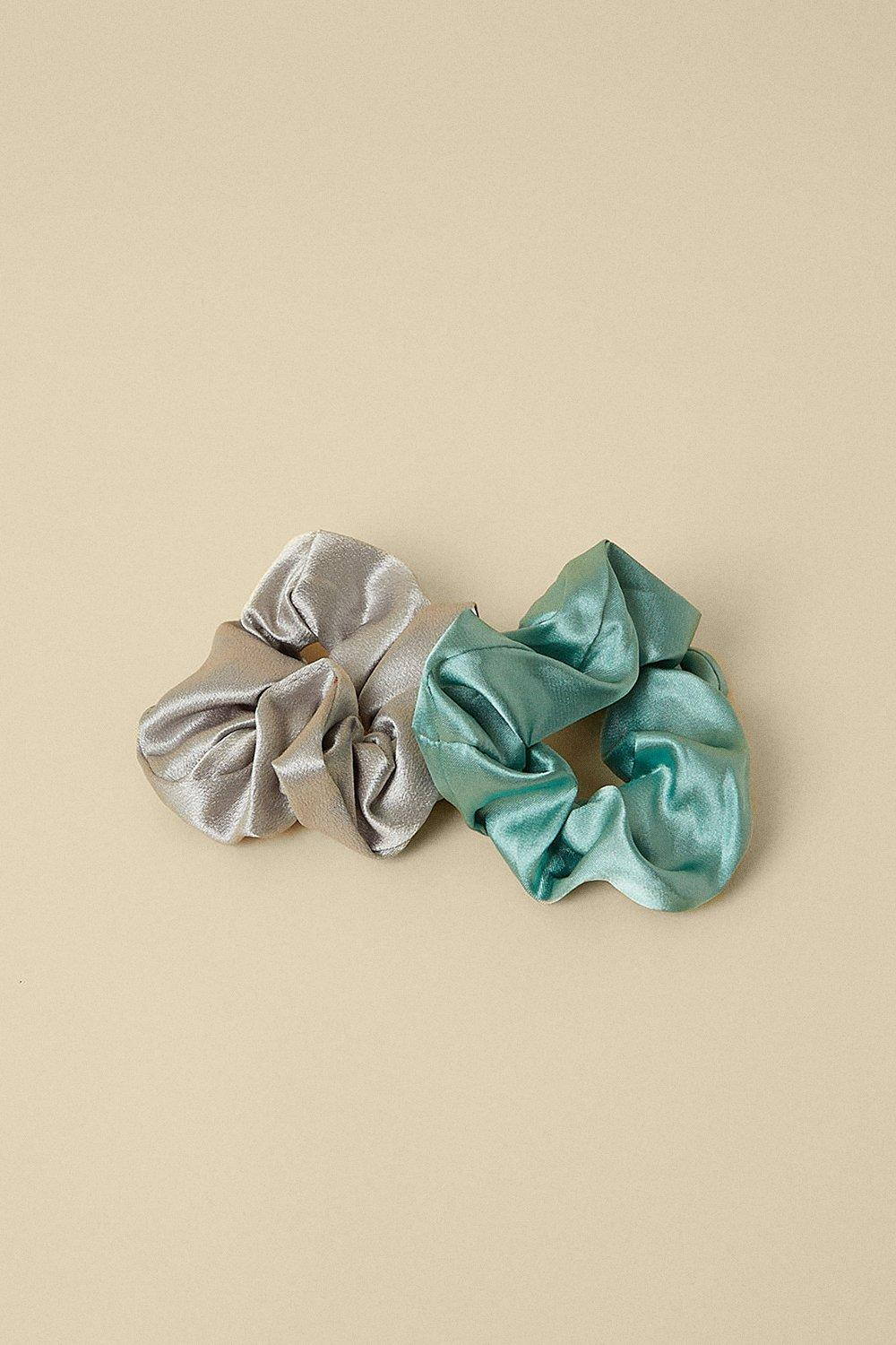 Womens Satin Green And Grey 2 Pack Scrunchie Set - multi, Multi