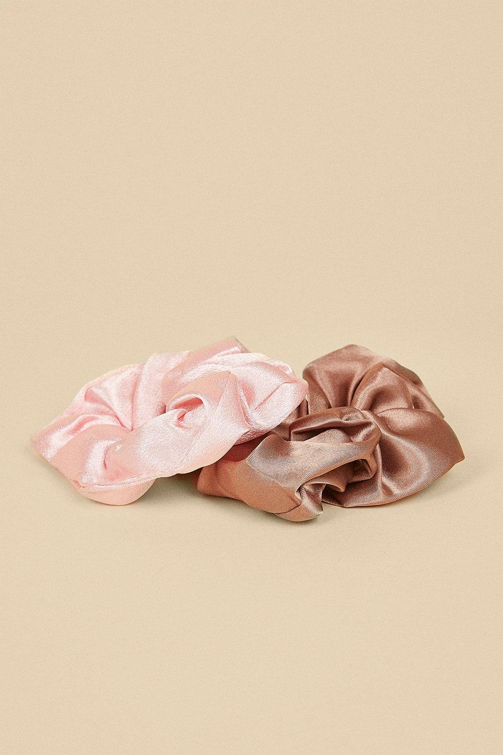 Womens Pink And Mink 2 Pack Scrunchie Set - multi, Multi