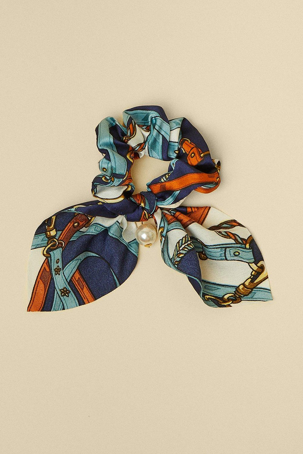 Womens Chain Scarf Print With Pearl Scrunchie - navy, Navy