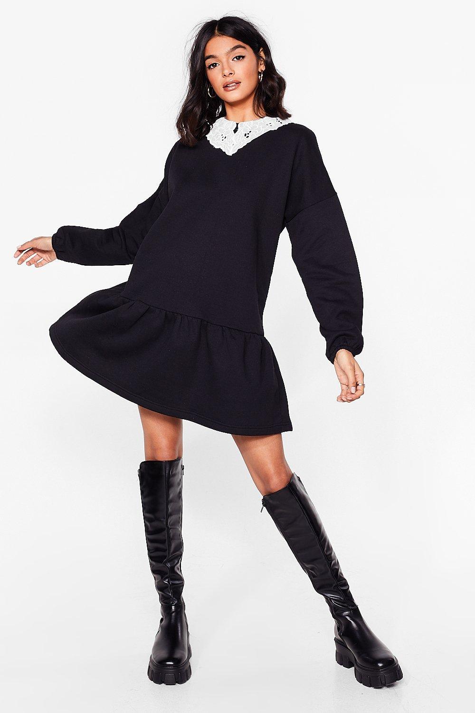Image of Womens In Your Lace Sweatshirt Mini Dress - Black