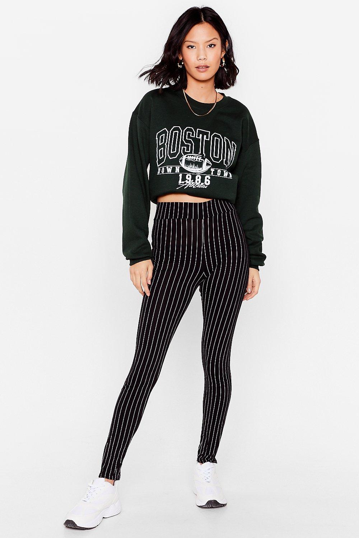 Image of Womens We're Doing It Stripe High-Waisted Leggings - Black